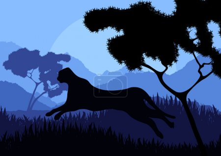 Animated cheetah hunting in wild nature landscape illustration