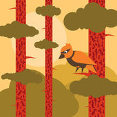 Animated woodpecker in pine tree forest landscape illustration