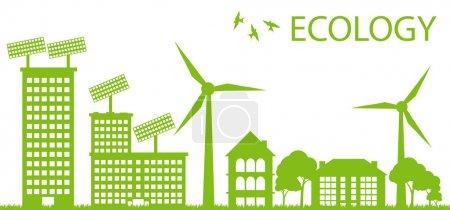 ekologia miasta i elementy tło wektor koncepcja-słoneczne i wiatr alterna