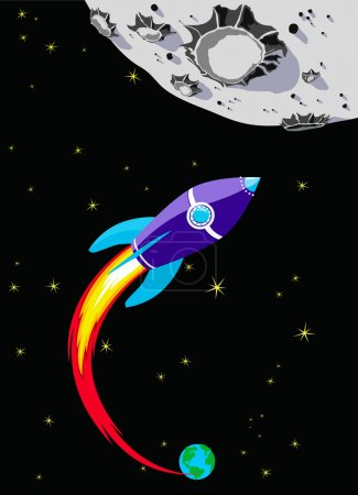 Illustration for Illustration of Spaceship heading towards the Moon drawn in a comic book style - Royalty Free Image