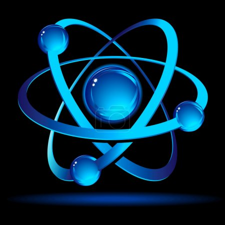 Illustration for Dramatic depiction of atom on a black background with fluorescent shadow. - Royalty Free Image