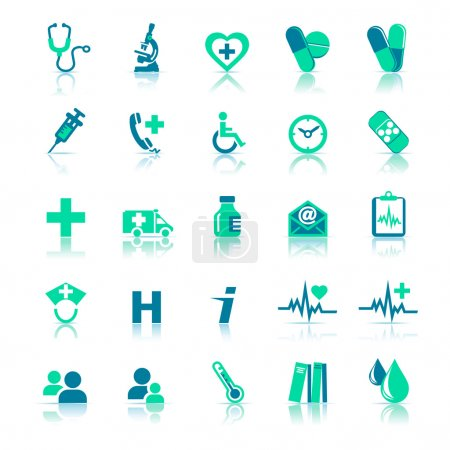 Illustration for 25 Health care Icons covering General Practice. All elements are grouped and on individual layers in the vector file for easy use. - Royalty Free Image