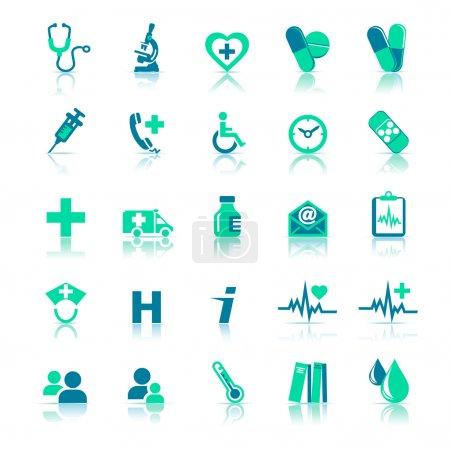 Photo pour 25 Icônes des soins de santé couvrant la pratique générale. Tous les éléments sont regroupés et sur des couches individuelles dans le fichier vectoriel pour une utilisation facile . - image libre de droit