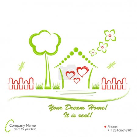 Illustration for Cute dream home and elements of nature. Vector illustration. - Royalty Free Image