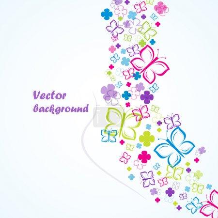 Photo pour Fleurs et papillons (fond coloré). Illustration vectorielle . - image libre de droit
