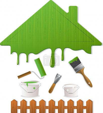 Green roof and painting tools, vector illustration