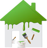 Green roof wall and painting tools Vector Illustration