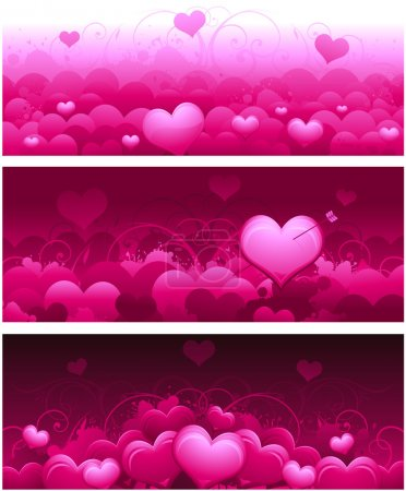 Illustration for Pink horizontal valentines day banners for wedding or greeting card - Royalty Free Image
