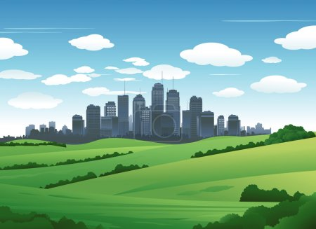 Illustration for Big city suburban nature landscape - Royalty Free Image