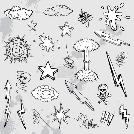 Hand drawn graffiti cartoon doodles...