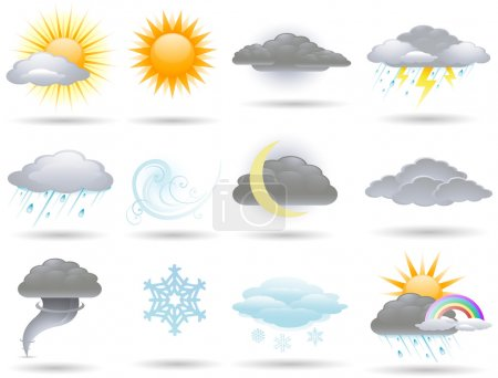 Illustration pour Collection d'icônes météorologiques vectorielles - image libre de droit