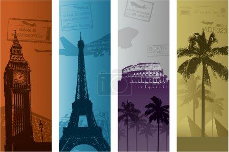 Illustration pour Fond de voyage avec tours - image libre de droit