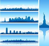 New york city skylines reflect on water and statue or liberty