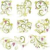 Wine grape scroll ornament