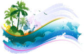 Tropical summer beach with wave and ocean