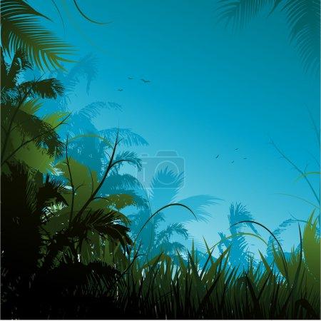 Illustration pour Jungle cadre arrière-plan - image libre de droit