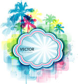 Colorful summer background with palm tree and paint splats