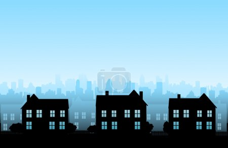 Illustration for City silhouette skylines background - Royalty Free Image