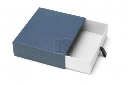 Photo for Elevated view of empty blue gift box on white background - Royalty Free Image