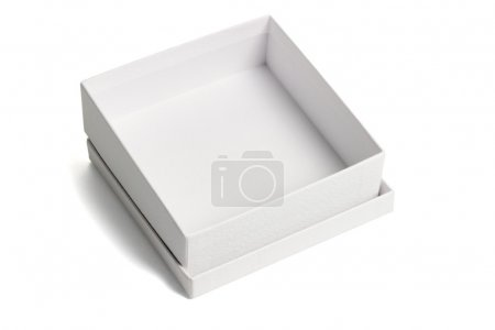 Photo for Open empty white gift box with lid on isolated background - Royalty Free Image