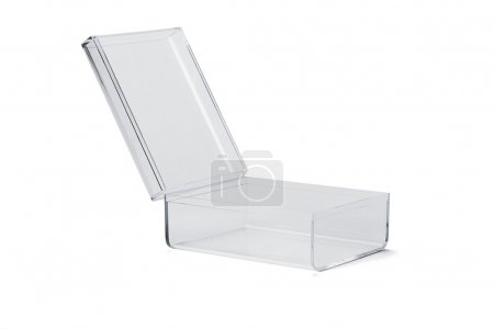 Photo for Open empty transparent plastic box on white background - Royalty Free Image