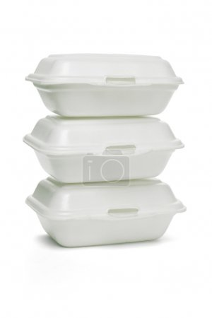 Photo for Stack of Styrofoam takeaway boxes on white background - Royalty Free Image