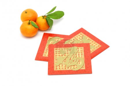 Chinese New Year mandarin oranges and red packets
