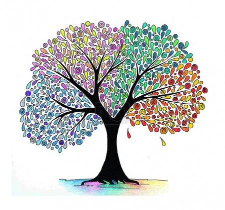Photo pour Dessin abstrait à la main d'un arbre quatre saisons - image libre de droit