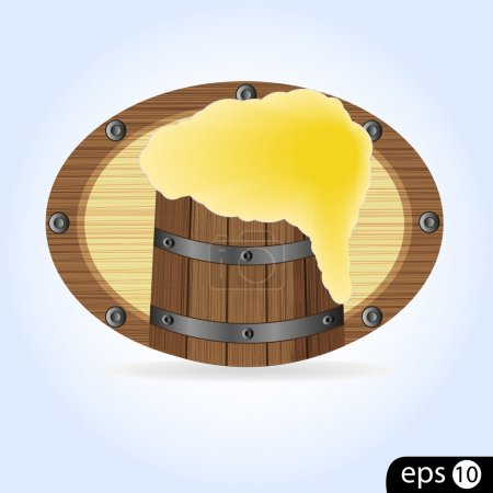 Sign a tavern with a barrel of beer on blue backgr...