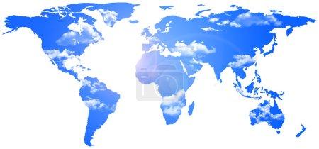Photo pour Illustration 2D d'un planiphere où le fond est remplacé par un ciel bleu avec quelques nuages - image libre de droit