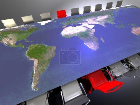 Photo pour 3D illustration d'une table et des chaises pour une réunion internationale - image libre de droit