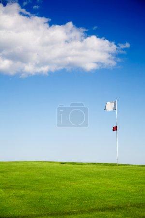 Photo pour Mettre le vert contre le ciel bleu avec des nuages - image libre de droit