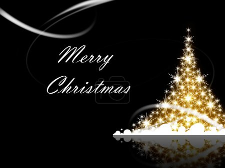 Photo for Christmas tree with Merry Christmas greetings - Royalty Free Image