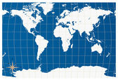 White world map isolated on blue back ground