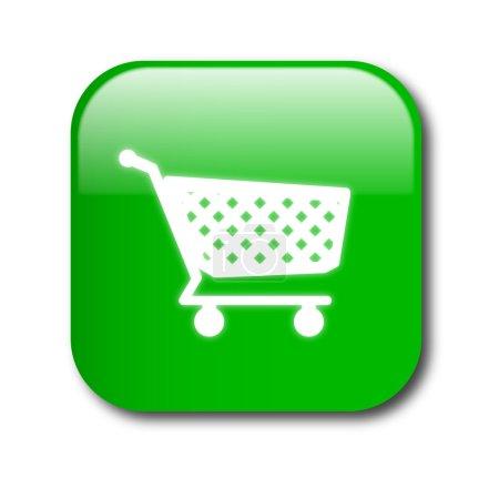 Illustration pour Vecteur de bouton vert shopping - image libre de droit