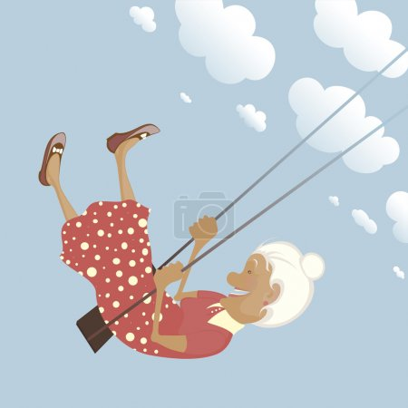 Illustration for A funny granny on the swing is happy like a child. - Royalty Free Image