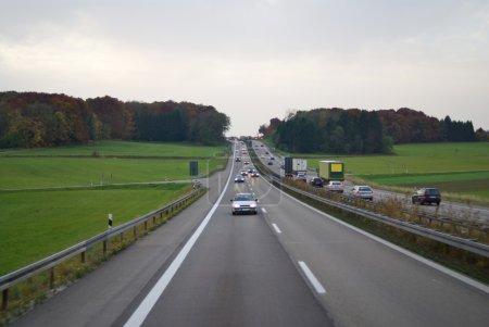 Green field along side autumn road