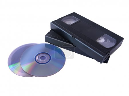 Photo for Media storage: two DVD and two VHS tapes. Old versus new technology - Royalty Free Image
