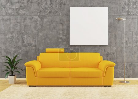 Photo for Yellow sofa on dirty wall interior design with plant and lamp - Royalty Free Image