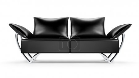 Photo pour Canapé en cuir noir Glamour isolé sur fond blanc - image libre de droit