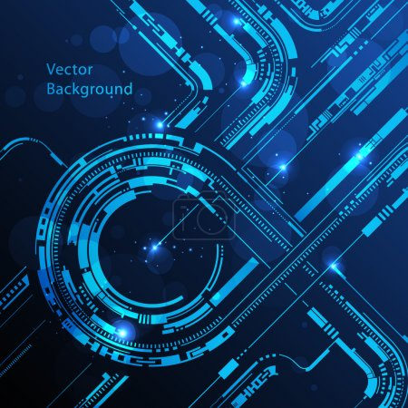 Illustration for Abstract technology circles lines vector background - Royalty Free Image