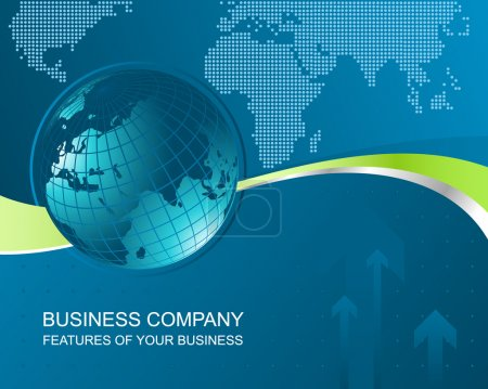 Illustration for Corporate business abstract background with illustration of Earth and smooth lines - Royalty Free Image