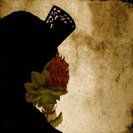 Photo for Background Andalusian Women in costume of Sevillian silhouette - Royalty Free Image