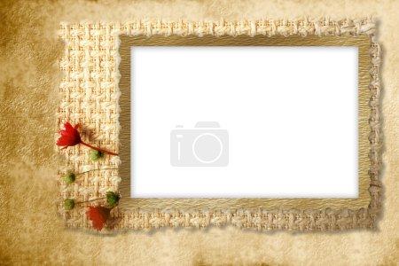 Photo pour Cadre pour photo avec fleurs et tissu rustique - image libre de droit