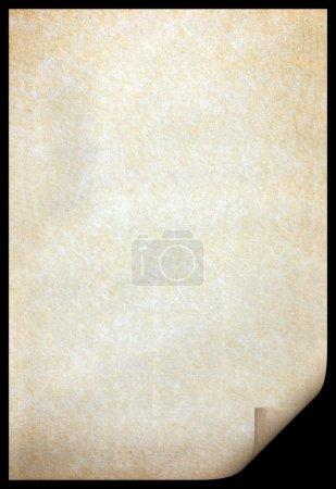 Photo pour Vieille texture de papier avec des motifs de taches et le bord courbé - image libre de droit