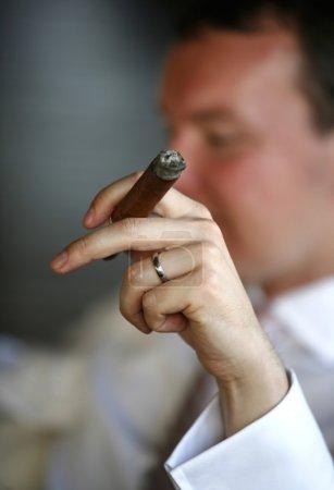 Smoking cigar