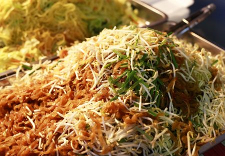 Photo for The chicken with rice noodles with fork close up - Royalty Free Image