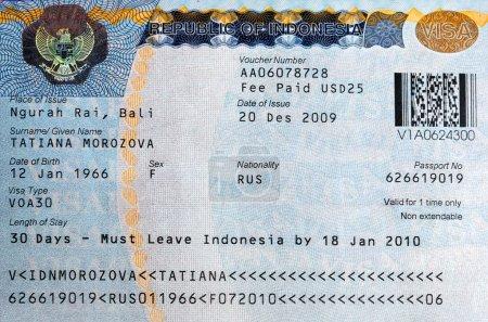Photo pour Le visa pour Bali, Indonésie - image libre de droit