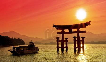 Sunset view of Torii gate, Miyajima, Japan...