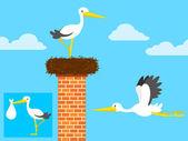 Cartoon stork in nest on chimney